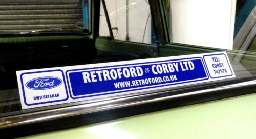 Retroford. Retro Looking Rear Dealer Stickers (ME007)